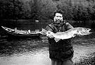 Man with Delaware River walleye